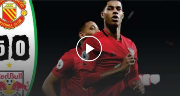Marcus Rashford scored a hattrick alongside Mason Greenwood and Anthony Martial as Man United beat RB Leipzig 5-0 at Old Trafford ( Video Highlight)