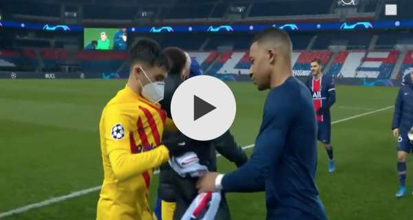 Watch Video: Kylian Mbappe swaps shirts with Barcelona wonderkid in game recognises game moment after PSG knock Blaugrana out of the Champions League